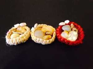Six Haida Gwaii Agate Nests with Stones, shells, and crochet hemp twine by Karin Groth $20/ea