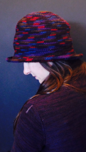 Variety of cotton, wool, and acrylic blend crochet hats by Karin Groth $50/ea