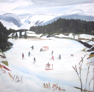 Pond Hockey ART CARD by Cynthia Powell