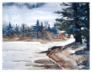 NORTHERN SHORELINE, watercolour  by Daria Wright