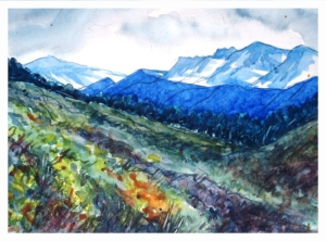Alpine Meadow, watercolour by Daria Wright