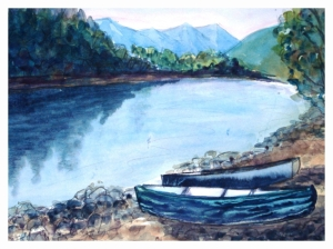 River Scene, watercolour by Daria Wright