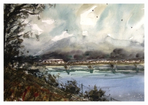 Terrace Old Skeena Bridge, watercolour by Daria Wright $200