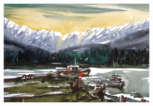 Haisla Marina, watercolour by Daria Wright $200 SOLD