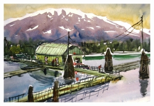 Kitimat Harbour View, watercolour by Daria Wright $200