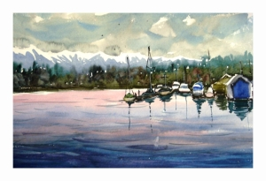 Boat Scene, watercolour by Daria Wright
