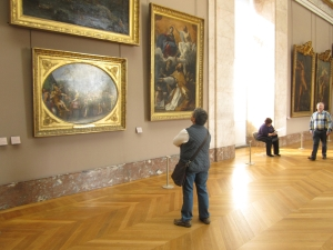 Jo being inspired by the Masters at the Louvre