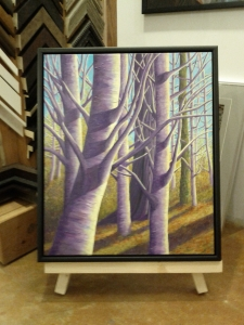 Spring Trees by Judy McCloskey, custom black wood floating frame