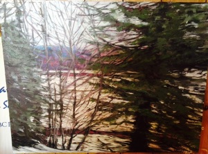 Going Home on the Train, Smithers, BC by Joan Tureki Original Acrylic on Canvas (18 x 14) $280