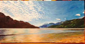 Late Summer on the Skeena by Joan Turecki Original Acrylic on Canvas (24 x 12) $280