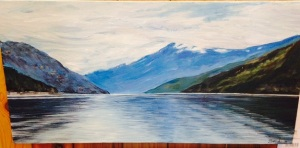 Summer Light on the Skeena by Joan Turecki Original Acrylic on Canvas (24 x 12) $280