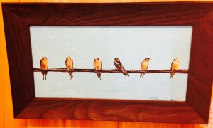 Six Birds on a Wire by Geoff Braiser Original Framed Acrylic on Board (11 1/2 x 6) $150
