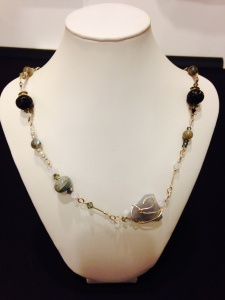Botswana agate, silver, lava labradorite venetian glass beads and swarovski crystals by Joan Turecki