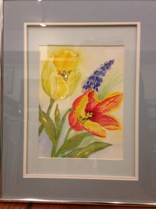 Full Bloom Tulips by Joan Marr Framed Original Watercolor Painting (20 1/2 x 16 1/2) $250