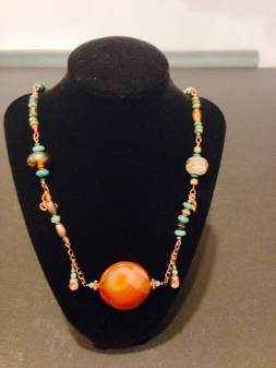Large red agate malachite copper and Venetian trade bead necklace by Joan Turecki