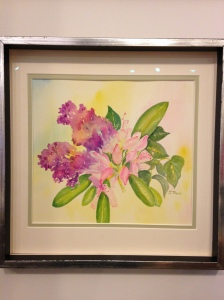 Lilac and Lily by Joan Marr Framed Original Watercolor Painting (12 x 12) $200
