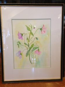 Pink Sweet Pea by Joan Marr Framed Original Watercolor (17 x 21) $100