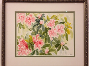Rhrododendron #2 by Joan Marr Framed Original Watercolor (13 x 15 1/2) $300