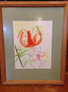 Tiger Lily with Buds (1999) by Joan Marr Framed Original Watercolor Painting (18 x 22) $250