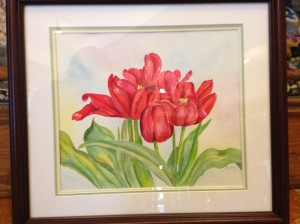 Wind Blown Tulips by Joan Marr Framed Original Watercolor Painting (16 x 15) $200