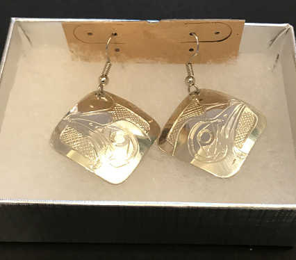 Carved Silver Earrings
