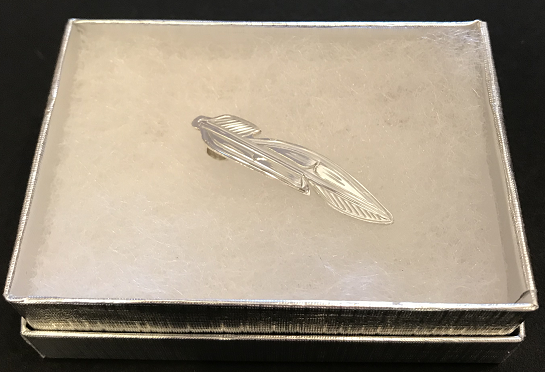 Carved Silver Feather Pendant