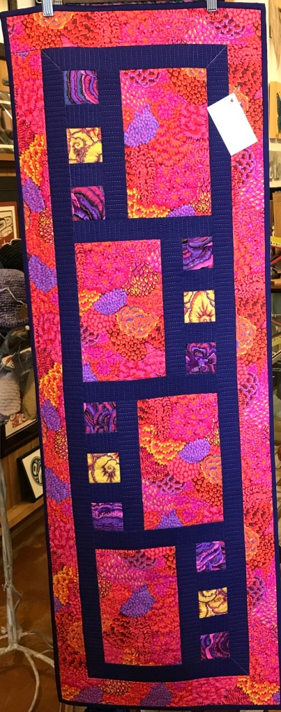 Hydrangea Sunrise Quilted Runner by Linda Earl
